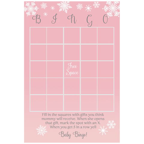 Baby It's Cold Outside Pink Baby Shower Bingo Card