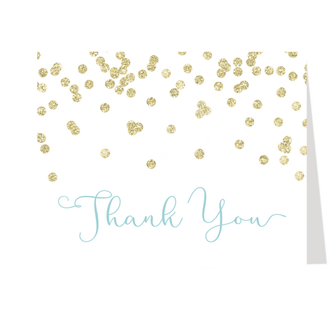 A Brunch for Baby Blue and Gold Thank You Card