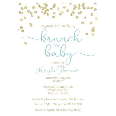 A Brunch for Baby Blue and Gold Baby Shower Invitation
