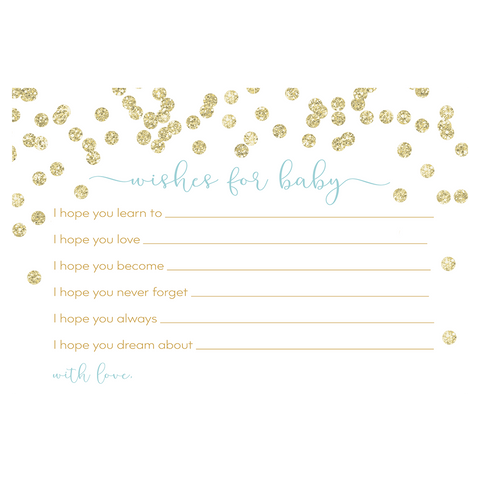 A Brunch for Baby Blue and Gold Baby Shower Wishes Card