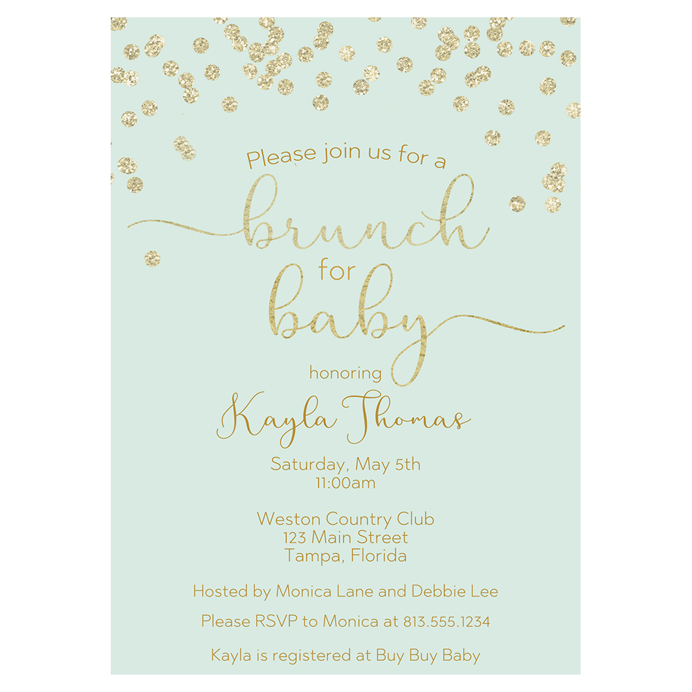 A Brunch with Baby Mint Baby Shower Invitation
