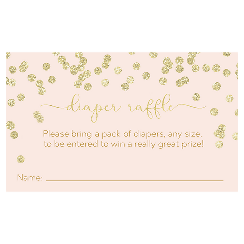 A Brunch for Baby Pink and Gold Diaper Raffle Ticket