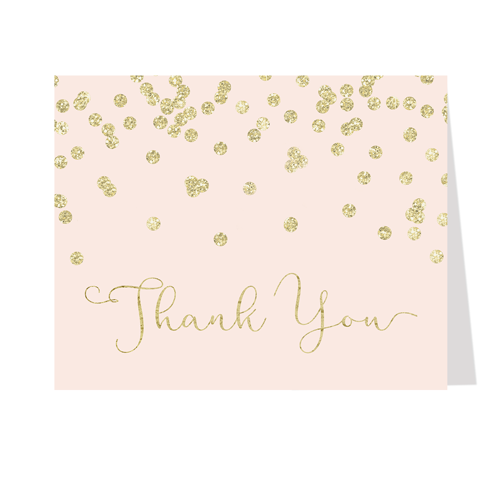 A Brunch for Baby Pink and Gold Thank You Card