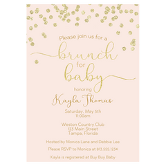 A Brunch for Baby Pink and Gold Baby Shower Invitation