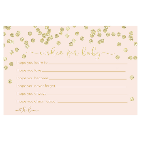 A Brunch for Baby Pink and Gold Baby Shower Wishes Card