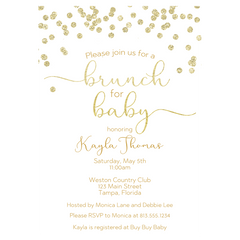 A Brunch for Baby Gold Baby Shower Invitation