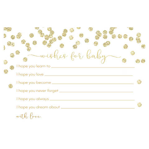 A Brunch for Baby White and Gold Baby Shower Wishes Card