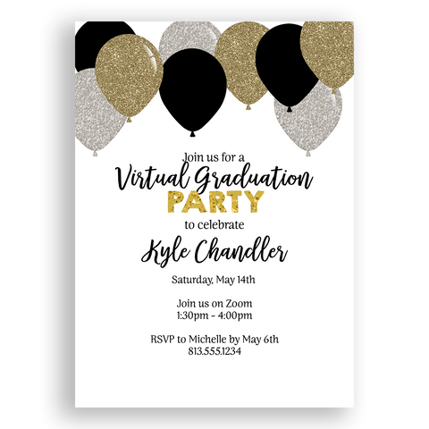 Balloon Black and Gold Graduation Invitation