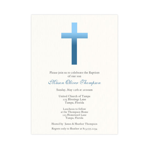 Ombre Blue Cross Religious Invitation