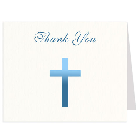 Ombre Blue Cross Religious Thank You Card