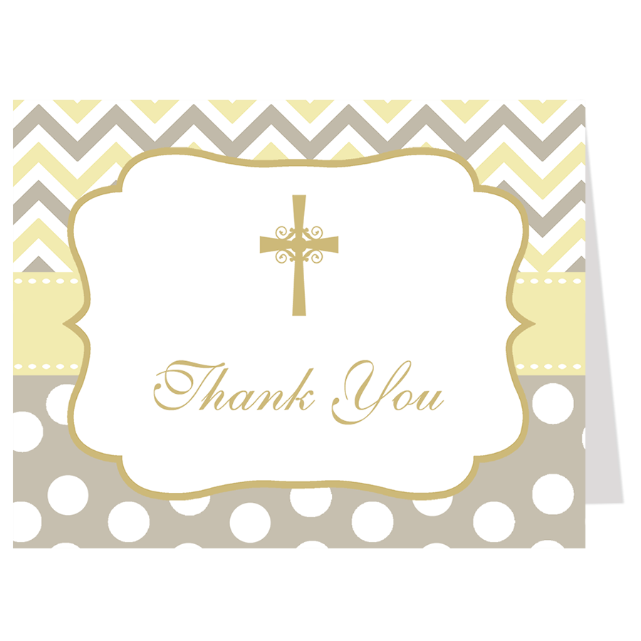 Chevron Stripes and Dots Baptism Thank You Card