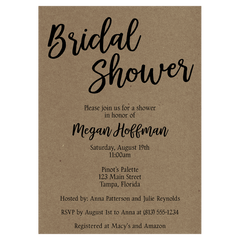 Kraft Bridal Shower Invitation