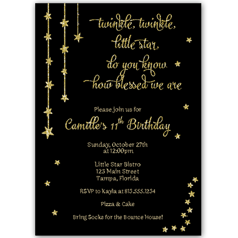 Twinkle Stars Black and Gold Birthday Invitation