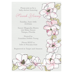 Blooming Magnolias Baby Shower Invitation
