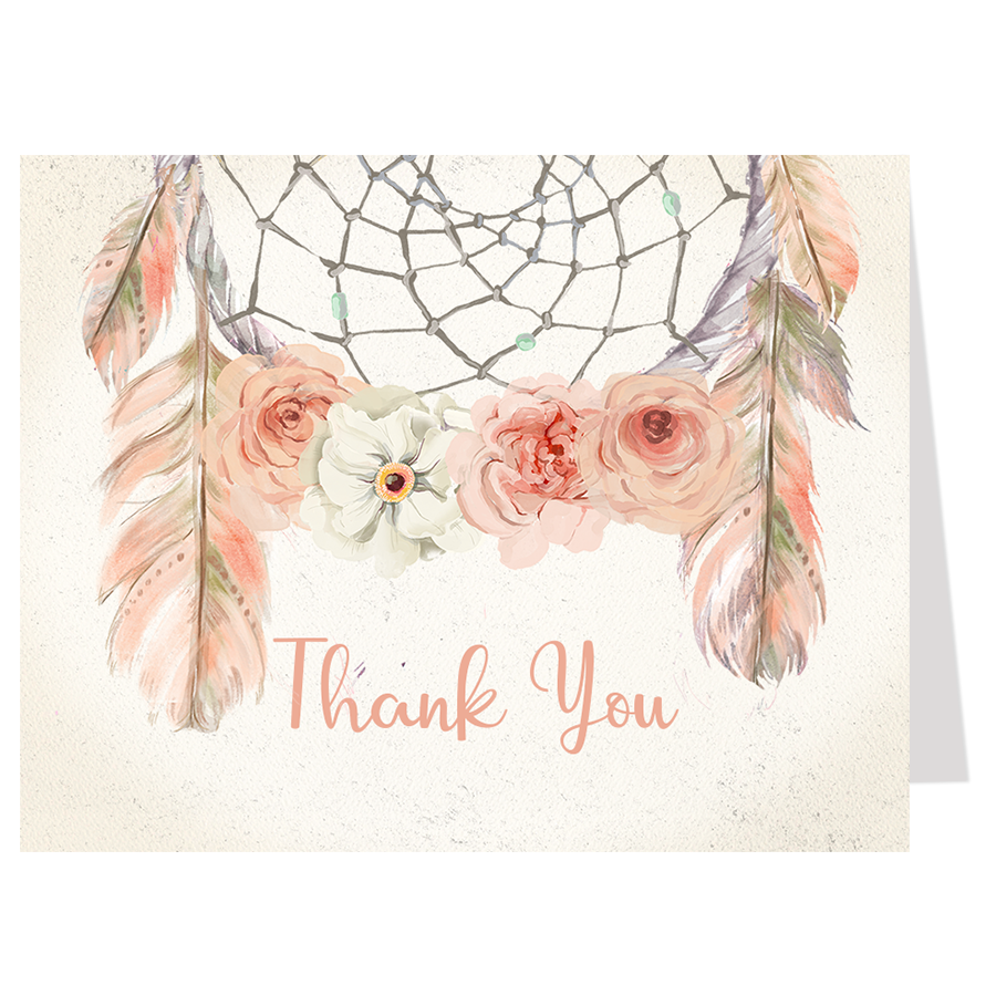 Bohemian Dream Catcher, Pink, Thank You Card