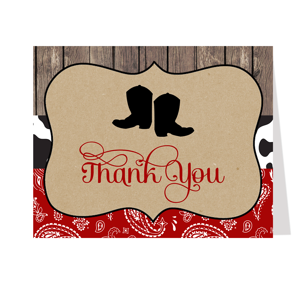 Boots and Bandanas Baby Shower Thank You Card