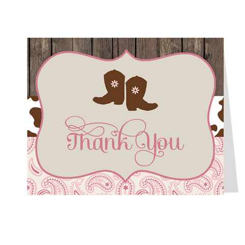 Boots and Bandanas Pink Baby Shower Thank You Card