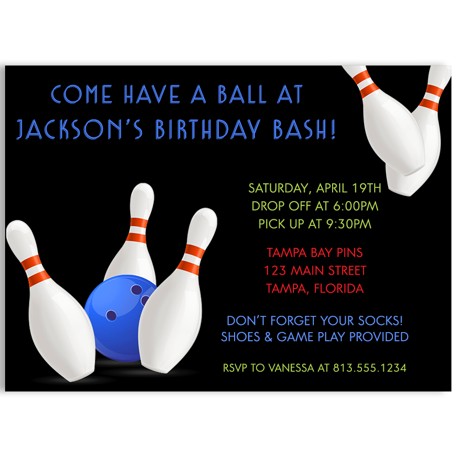 Bowling Boys Birthday Party Invitation
