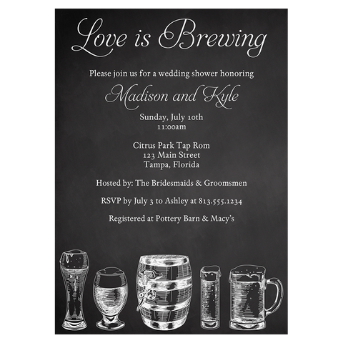 Brews and I Dos Chalkboard Bridal Shower Invitation