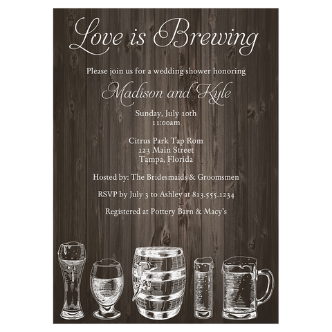 Brews and I Dos Wooden Bridal Shower Invitation