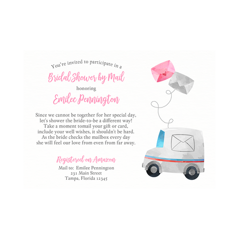 Bridal Shower by Mail Pink Invitation
