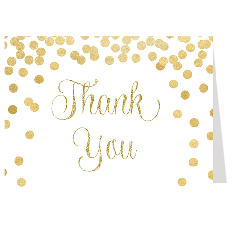Confetti Bridal, Glitter and Gold, Thank You Card