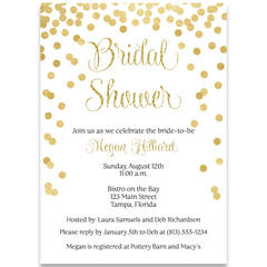 Confetti Bridal Vertical, Glitter and Gold, Bridal Shower Invitation