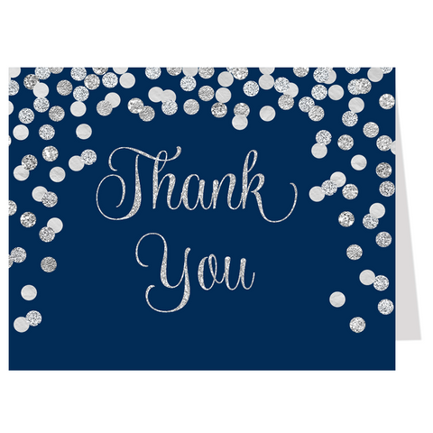Confetti Bridal, Navy And Silver, Thank You Card