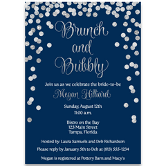 Brunch and Bubbly Navy and Silver Vertical Bridal Shower Invitation