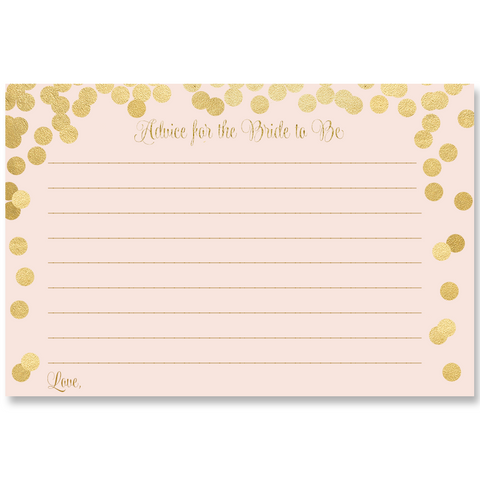 Confetti Bridal, Pink and Gold, Advice for the Bride Card