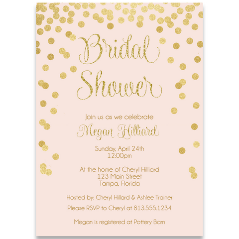 Confetti Bridal, Pink and Gold, Bridal Shower Invitation