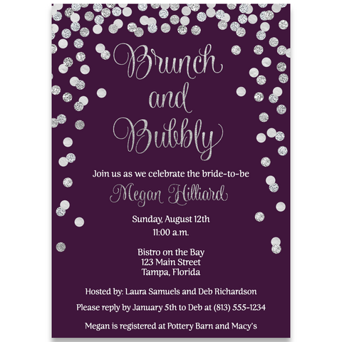 Brunch and Bubbly Bridal Silver and Plum Vertical Bridal Shower Invitation