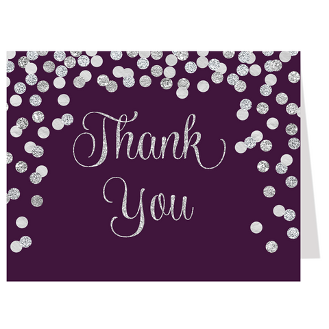 Confetti Bridal, Silver and Plum, Thank You Card