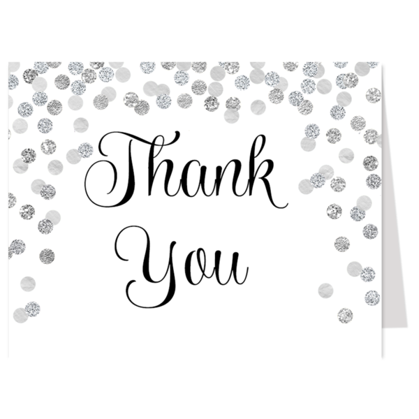 Confetti Bridal, White and Silver, Thank You Card
