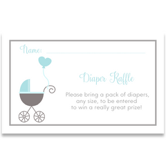Buggy Baby, Blue, Baby Shower Invitation