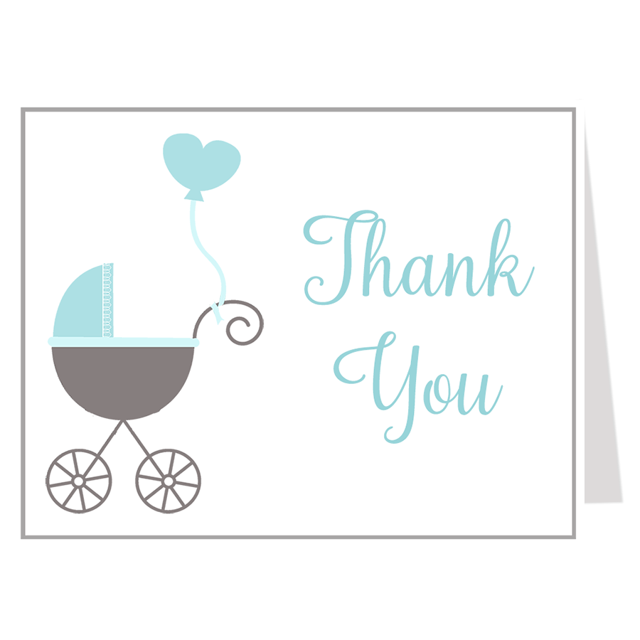 Buggy Baby Blue Thank You Card