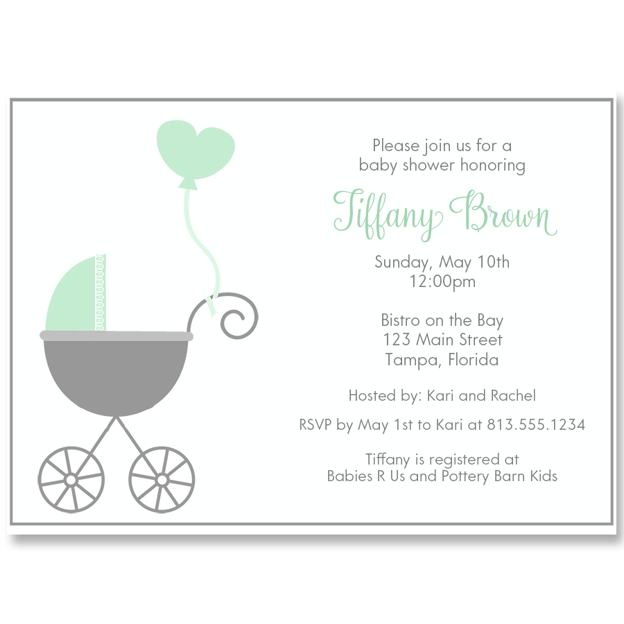 Buggy Baby, Mint, Baby Shower Invitation