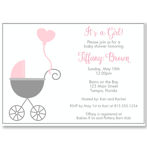 Buggy Baby, Pink, Baby Shower Invitation