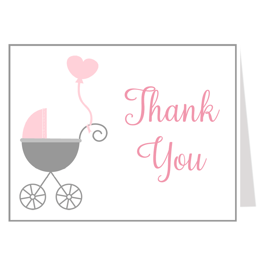 Buggy Baby Pink Thank You Card