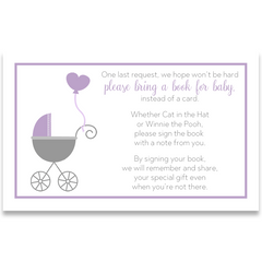 Buggy Baby, Purple, Baby Shower Invitation