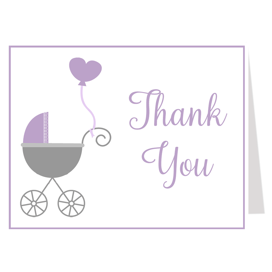Buggy Baby Purple Thank You Card