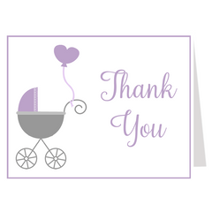Buggy Baby Purple Baby Shower Invitation
