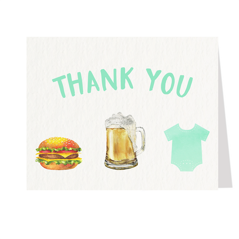Burgers Beer and Babies Mint Baby Shower Thank You Cards