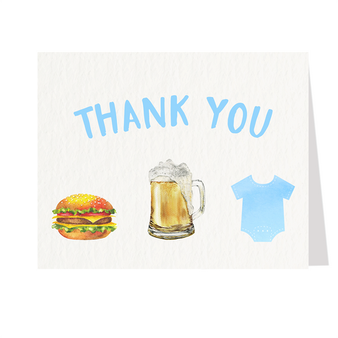 Burgers Beer and Babies Blue Baby Shower Thank You Cards