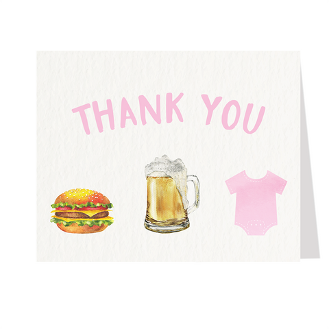 Burgers Beer and Babies Pink Baby Shower Thank You Cards