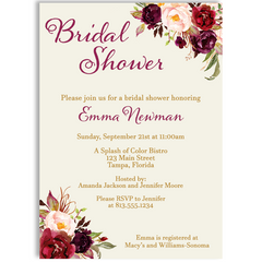 Burgundy Blooms Bridal Shower Invitation