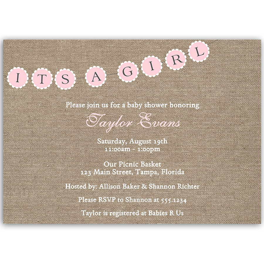 Burlap and Pink Baby Shower Invitation The Invite Lady