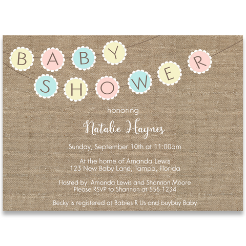Burlap Baby Bunting Baby Shower Invitation