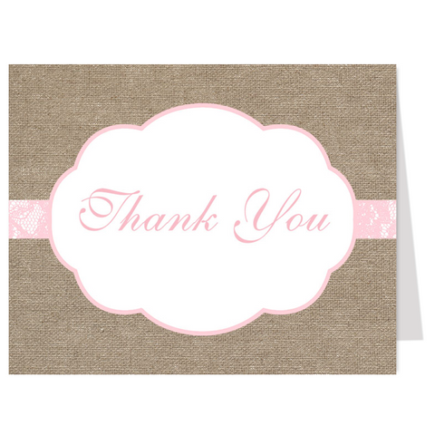 Burlap and Pink Thank You Card