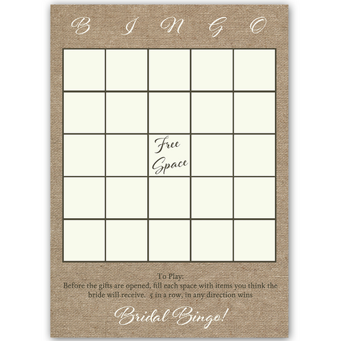 Burlap and Lace Bingo Card